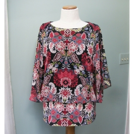 Coco Bianco Women's Blouson Shirt Blouse Floral Kimono Sleeves Size Medium M Med