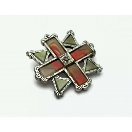 Celtic Miracle Brooch Pin faux Scottish Agate Connemara Marble Red White Green