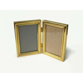 Vintage Gold Bi-Fold Picture Frame Tabletop or Wall Hanging for 3.5x5 inch photo
