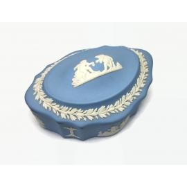 Vintage Blue Wedgewood Jasperware Box Lidded Trinket Box made in England