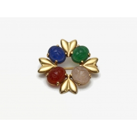 Vintage 14K Yellow Gold Scarab Brooch Pin Natural Gemstones Egyptian Jewelry