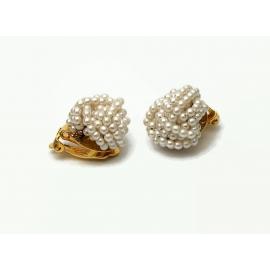 Vintage Seed Pearl Cluster Clip on Earrings Faux Seed Pearls Dainty Elegant
