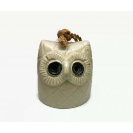 Vintage Ceramic Owl Shaped Bell Pottery Owl Sculpture Bell