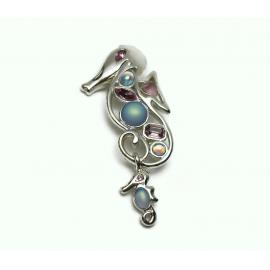 Vintage Monet Seahorse Brooch Pin Silver Blue & Purple Rhinestones Baby Seahorse