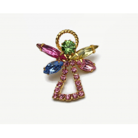 Pink Crystal Angel Pin Lapel Pin Tie Pin October Birthstone Guardian Angel