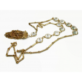 Vintage Long Open Bezel Crystal Tassel Pendant Necklace Gold Bar Chain