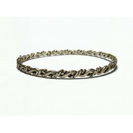 """Vintage Wavy Silver Tone Bangle Bracelet Thin Large 8 1/2"""" Bangle Unisex"""