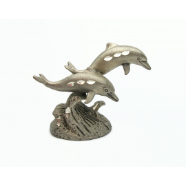 Vintage 1985 Cuter Pewter Diamond Cut Dolphin Figurine Metal Collectible