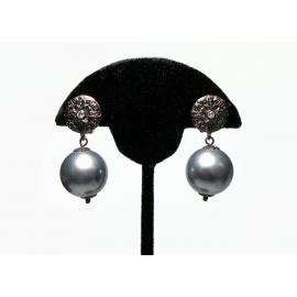 Vintage Silver Gray Ball Drop Clip on Earrings Chunky Bead Dangle Earrings