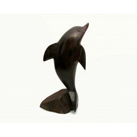 Vintage Ironwood Dophin Sculpture Hand Carved Solid Wood Dolphin Figurine Beach