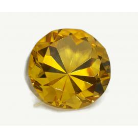 Vintage Oleg Cassini Golden Yellow Diamond Cut Crystal Glass Paperweight Signed