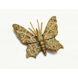Vintage Damascene Style Butterfly Brooch Lapel Pin Made in Spain
