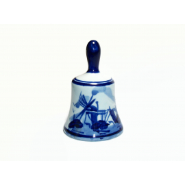 Vintage Delfts Blauw Blue and White Windmill Bell Hand Painted Delft Holland