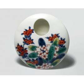 Vintage Small Flat Round Disc Shaped Ceramic Bud Vase White with Floral Design