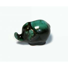 Vintage Small Blue Mountain Mini Elephant Figurine Ceramic Pottery Drip Glaze
