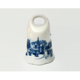 Vintage Ceramic Porcelain Bell White and Blue with Winter Church Scene