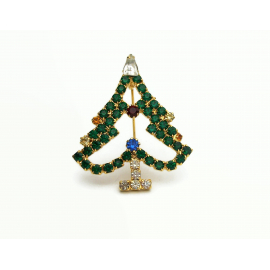 Vintage Prong Set Emerald Green Crystal Rhinestone Christmas Tree Brooch Pin