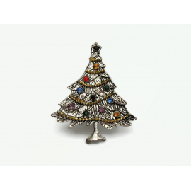 Vintage Silver Rhinestone Christmas Tree Brooch Multi Colored Rhinestones