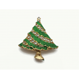 Vintage Gold and Sparkly Green Enamel and Clear Rhinestone Christmas Tree Brooch