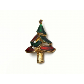 Vintage Red and Green Enamel Christmas Tree Brooch Pin Lapel Pin Enameled Gold