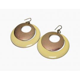 Vintage Big Hoop Dangle Earrings Butter Yellow Enamel Textured Gold Large Hoops