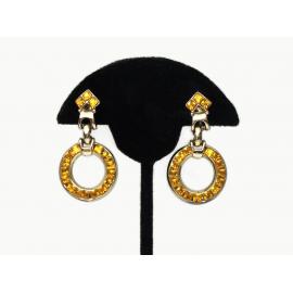 Vintage Topaz Colored Crystal Rhinestone Hoop Drop Clip Earrings
