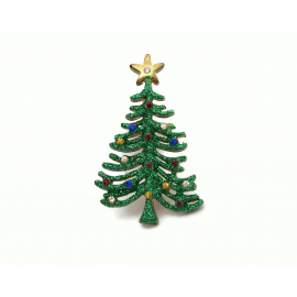 Vintage Green Glitter Christmas Tree Brooch Lapel Pin with Colorful Rhinestones