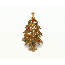Vintage Signed ART Gold Rhinestone Christmas Tree Brooch Lapel Pin Rhinestones