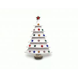 Vintage White Enamel Christmas Tree Brooch Lapel Pin with Colorful Rhinestones