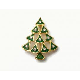 Vintage Green Enamel and Clear Rhinestone Christmas Tree Brooch Lapel Pin Gold