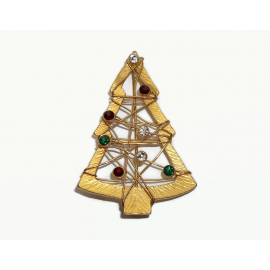 Vintage Large Textured Gold Wire Christmas Tree Brooch Signed Casual Corner