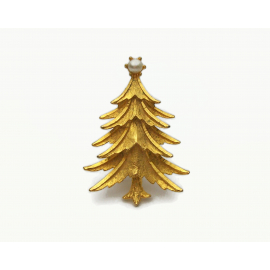 Vintage Mamselle Brushed Gold Christmas Tree Brooch Pin with Faux Pearl Signed