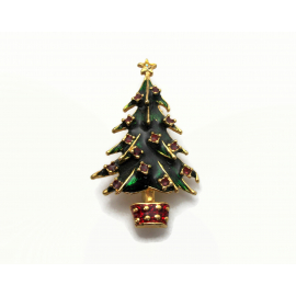 Vintage Enamel Christmas Tree Brooch Gold with Green and Red Enamel