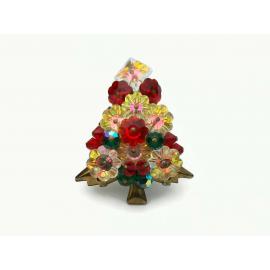 Vintage Unsigned Hobe Margarita Rivoli Crystal Christmas Tree Brooch Pin 1960s
