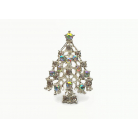 Vintage Rhodium Plated Silver Christmas Tree Brooch Pin with AB Crystals