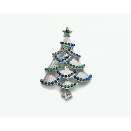 Vintage Gerry's Silver Christmas Tree Brooch Lapel Pin with Blue & Green Enamel