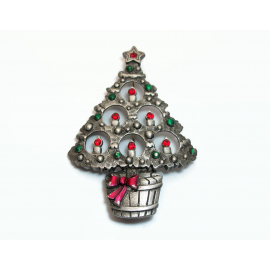 Vintage JJ Jonette Pewter Christmas Tree Brooch Pin Silver Tone with Rhinestones