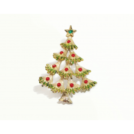 Vintage Signed Gerry's Christmas Tree Pin Brooch Gold with Green and Red Enamel
