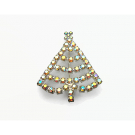 Vintage Aurora Borealis AB Crystal Christmas Tree Brooch Pin Prong Crystals