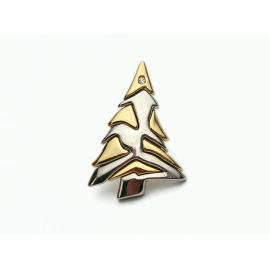 Vintage Liz Claiborne Silver and Gold Christmas Tree Brooch Pin Lapel Pin