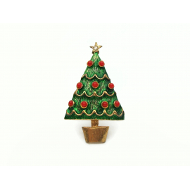 Small Vintage Gold and Enamel Christmas Tree Pin Brooch Lapel Pin Green Red