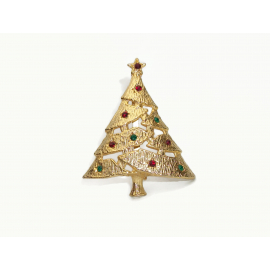 Vintage Textured Gold Christmas Tree Brooch Pin with Red and Green Rhinestones