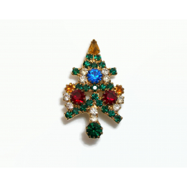Vintage Small Prong Set Crystal Rhinestone Christmas Tree Brooch Pin High End