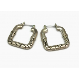 Vintage Silver Tone Square Hoop Earrings For Pierced Ears Silver and Black