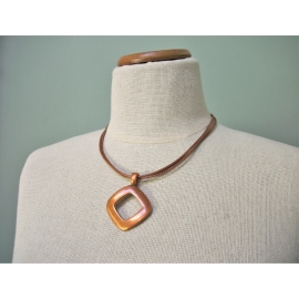 Vintage Copper Pendant Necklace on Multistrand Cord Geometric Metal Jewelry