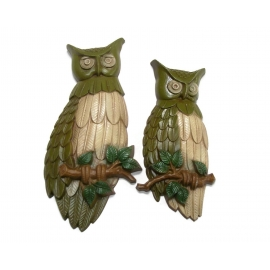 Vintage 1969 Sexton Metal Owl Wall Hanging Plaques 1960s Avocado Olive Green