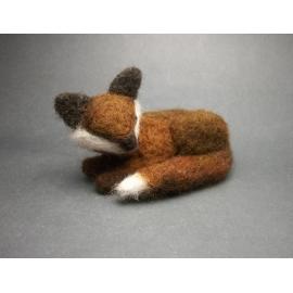 Needle Felted Fox  Small Needlefelted Sleeping Sleepy Fox Soft Sculpture