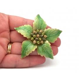 Liz Claiborne Enamel Green Leaves Floral Brooch Gold Tone Shiny Enamel Designer