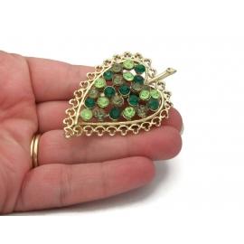 Vintage Green Rhinestone Leaf Brooch Gold Filigree Leaf Pin Shades of Green