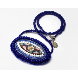 Vintage Micro Mosaic Necklace with Purple Blue Beaded 20 inch Chain Suede Back